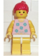 Minifig No: par006  Name: Blue Flowers - Yellow Legs, Red Ponytail Hair