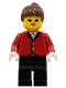 Minifig No: par014  Name: Red Riding Jacket - Black Legs, Brown Ponytail Hair