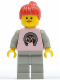 Minifig No: par015  Name: Horse Logo - Light Gray Legs, Red Ponytail Hair