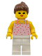 Minifig No: par016  Name: Red Dots on Pink Shirt - White Legs, Brown Ponytail Hair
