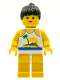 Minifig No: par022  Name: Island with Palm and Sun - Yellow Legs, Black Ponytail Hair