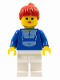 Minifig No: par024  Name: Jogging Suit - White Legs, Red Ponytail Hair