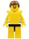 Minifig No: par025  Name: Horizontal Blue/White Stripes, Yellow Legs, Brown Male Hair, Life Jacket