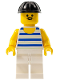 Minifig No: par026  Name: Horizontal Blue/White Stripes, White Legs, Black Construction Helmet