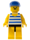 Minifig No: par027  Name: Horizontal Blue/White Stripes, Yellow Legs, Blue Cap
