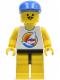 Minifig No: par030  Name: Surfboard on Ocean - Yellow Legs, Blue Cap