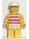 Minifig No: par034  Name: Red / White Stripes Shirt, Yellow Legs, White Cap