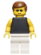 Minifig No: par035  Name: Plain Black Torso with Yellow Arms, White Legs, Sunglasses, Brown Male Hair