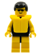Minifig No: par036  Name: Plain Black Torso with Yellow Arms, Yellow Legs, Sunglasses, Black Male Hair, Life Jacket