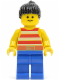 Minifig No: par043  Name: Red / White Stripes Shirt, Blue Legs, Black Ponytail Hair