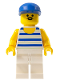 Minifig No: par044  Name: Horizontal Blue/White Stripes, White Legs, Blue Cap
