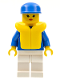 Minifig No: par045  Name: Jogging Suit - White Legs, Blue Cap, Life Jacket
