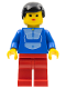 Minifig No: par048  Name: Jogging Suit - Red Legs, Black Male Hair