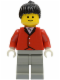 Minifig No: par052  Name: Red Riding Jacket - Light Gray Legs, Black Ponytail Hair