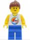Minifig No: par062  Name: Surfboard on Ocean - Blue Legs, Reddish Brown Ponytail Hair