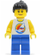 Minifig No: par063  Name: Surfboard on Ocean - Blue Legs, Black Ponytail Hair