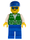 Minifig No: pck003  Name: Jacket Green with 2 Large Pockets - Blue Legs, Blue Cap, Stubble