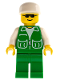 Minifig No: pck006  Name: Jacket Green with 2 Large Pockets - Green Legs, White Cap
