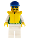 Minifig No: pck008  Name: Jacket Green with 2 Large Pockets - White Legs, Blue Cap, Life Jacket