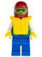 Minifig No: pck009  Name: Jacket Green with 2 Large Pockets - Blue Legs, Sunglasses, Red Helmet, Trans-Light Blue Visor, Life Jacket