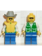 Minifig No: pck012  Name: Jacket Green with 2 Large Pockets - Blue Legs, Light Gray Cowboy Hat, Life Jacket