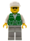 Minifig No: pck013  Name: Jacket Green with 2 Large Pockets - Light Gray Legs, White Cap