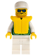 Minifig No: pck018  Name: Jacket Green with 2 Large Pockets - White Legs, White Cap, Life Jacket