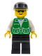 Minifig No: pck021  Name: Jacket Green with 2 Large Pockets - Black Legs, Black Cap
