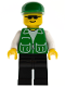 Minifig No: pck022  Name: Jacket Green with 2 Large Pockets - Black Legs, Green Cap