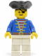 Minifig No: pi006  Name: Pirate Blue Jacket White Legs, Black Pirate Triangle Hat