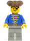Minifig No: pi008  Name: Pirate Blue Jacket, Light Gray Legs, Brown Pirate Triangle Hat