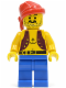 Minifig No: pi013  Name: Pirate Anchor Dark Purple Vest, Blue Legs, Red Bandana