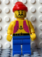 Minifig No: pi013new  Name: Pirate Anchor Light Purple Vest, Blue Legs, Red Bandana (Reissue)
