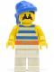 Minifig No: pi019  Name: Pirate Blue / White Stripes Shirt, White Legs, Blue Bandana