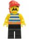 Minifig No: pi020  Name: Pirate Blue / White Stripes Shirt, Black Legs, Red Bandana