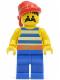 Minifig No: pi021  Name: Pirate Blue / White Stripes Shirt, Blue Legs, Red Bandana