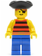 Minifig No: pi026  Name: Pirate Red / Black Stripes Shirt, Blue Legs, Black Pirate Triangle Hat