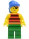 Minifig No: pi029  Name: Pirate Red / Black Stripes Shirt, Green Legs, Blue Bandana