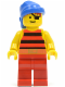 Minifig No: pi030  Name: Pirate Red / Black Stripes Shirt, Red Legs, Blue Bandana