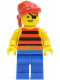 Minifig No: pi032  Name: Pirate Red / Black Stripes Shirt, Blue Legs, Red Bandana