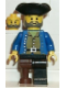 Minifig No: pi036  Name: Pirate Brown Shirt, Black Leg with Peg Leg, Black Pirate Triangle Hat