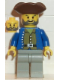 Minifig No: pi037  Name: Pirate Brown Shirt, Light Gray Legs, Brown Pirate Triangle Hat