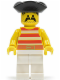 Minifig No: pi039  Name: Pirate Red / White Stripes Shirt, White Legs, Black Pirate Triangle Hat