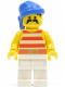 Minifig No: pi042  Name: Pirate Red / White Stripes Shirt, White Legs, Blue Bandana