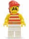 Minifig No: pi045  Name: Pirate Red / White Stripes Shirt, White Legs, Red Bandana