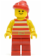 Minifig No: pi046  Name: Pirate Red / White Stripes Shirt, Red Legs, Red Bandana