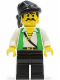 Minifig No: pi047  Name: Pirate Green Vest, Black Legs, Black Bandana