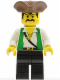 Minifig No: pi048  Name: Pirate Green Vest, Black Legs, Brown Pirate Triangle Hat