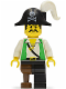 Minifig No: pi050  Name: Pirate Green Vest, Black Leg with Pegleg, Black Pirate Hat with Skull