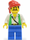 Minifig No: pi052  Name: Pirate Green Vest, Blue Legs, Red Bandana